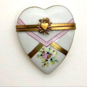 Vintage Limoges trinket Heart Shape Porcelain Box
